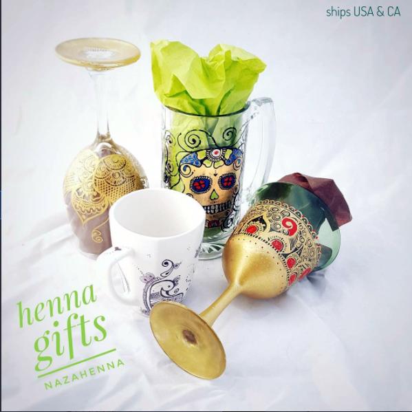 hand painted, henna glasses and mugs
