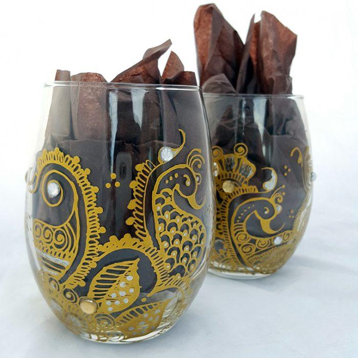 gold henna peacock wine glasses