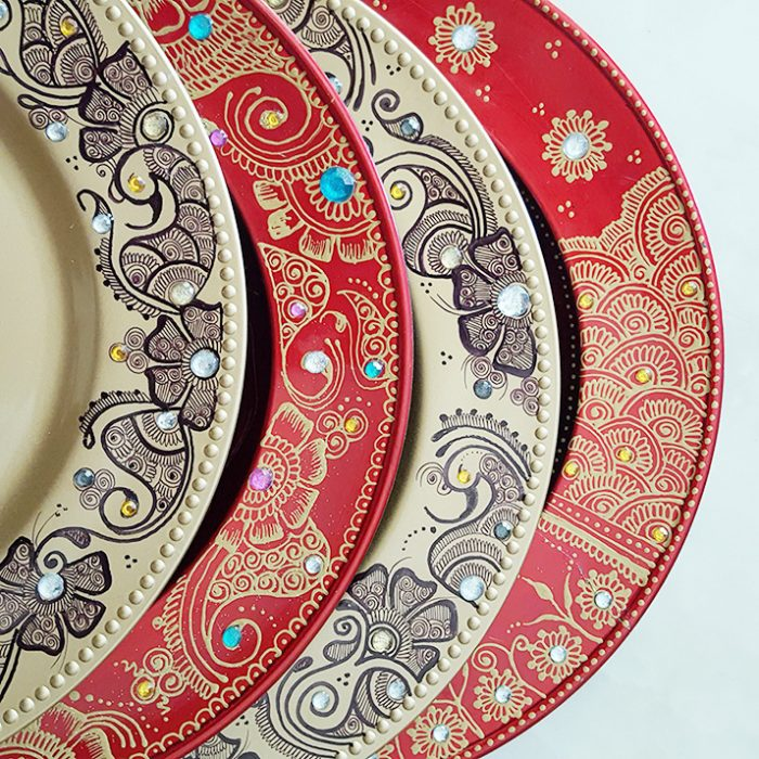 henna charger plates
