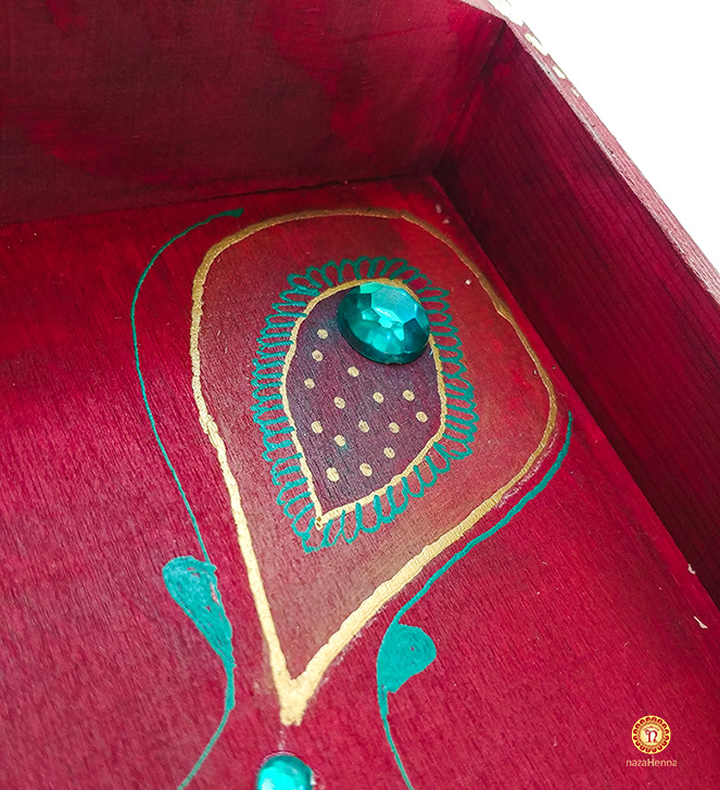 henna painted wood trays