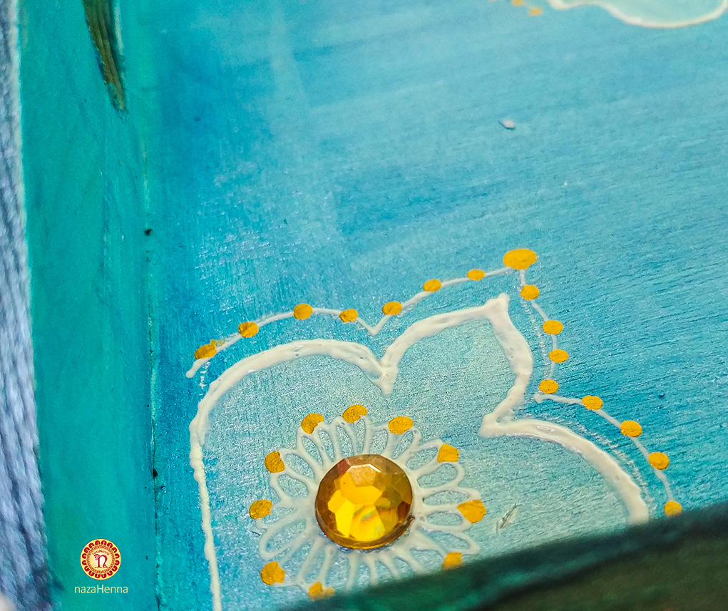blue and gold wood tray