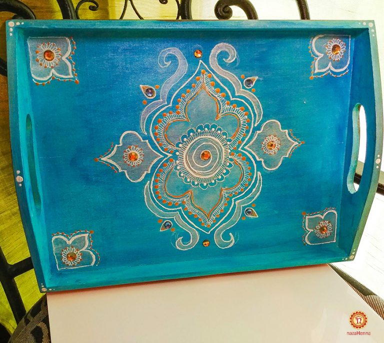 hand painted henna wood tray